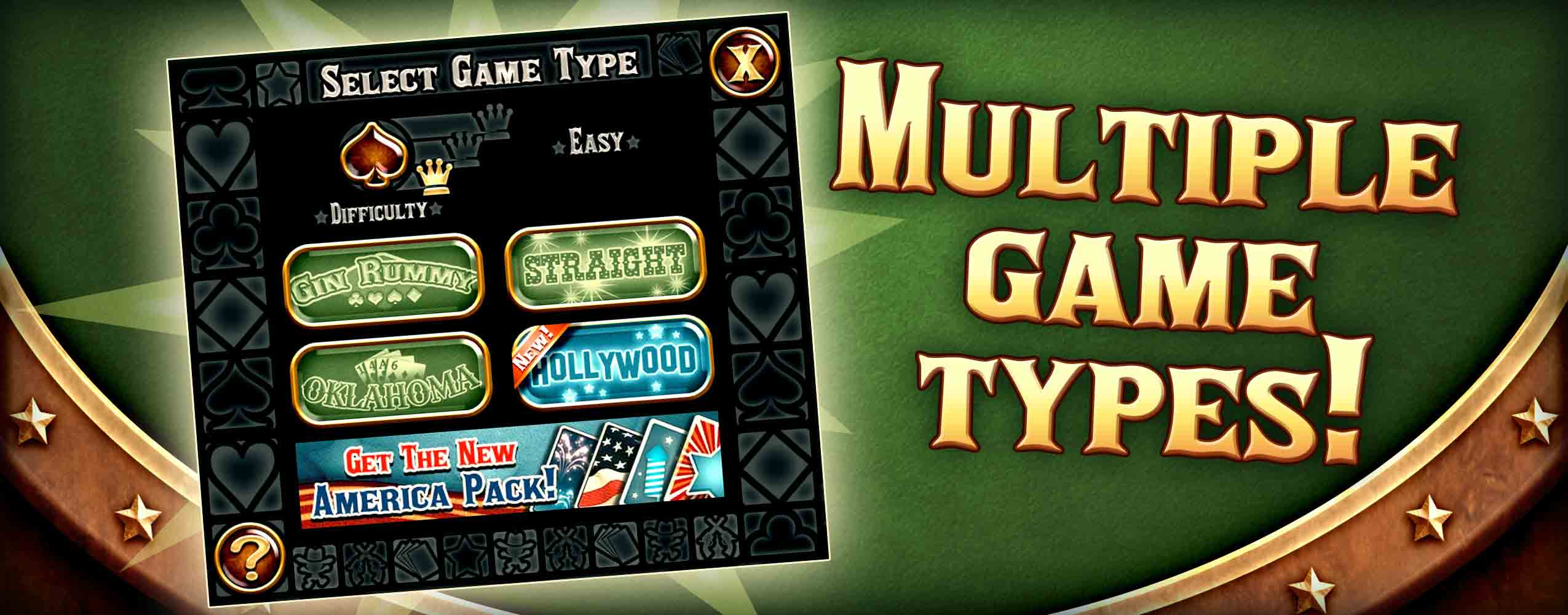 Play multiple game modes of Gin Rummy